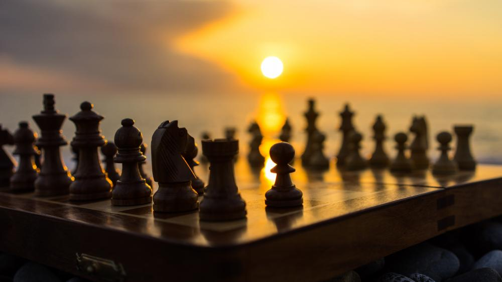 Chessboard in the sunset wallpaper