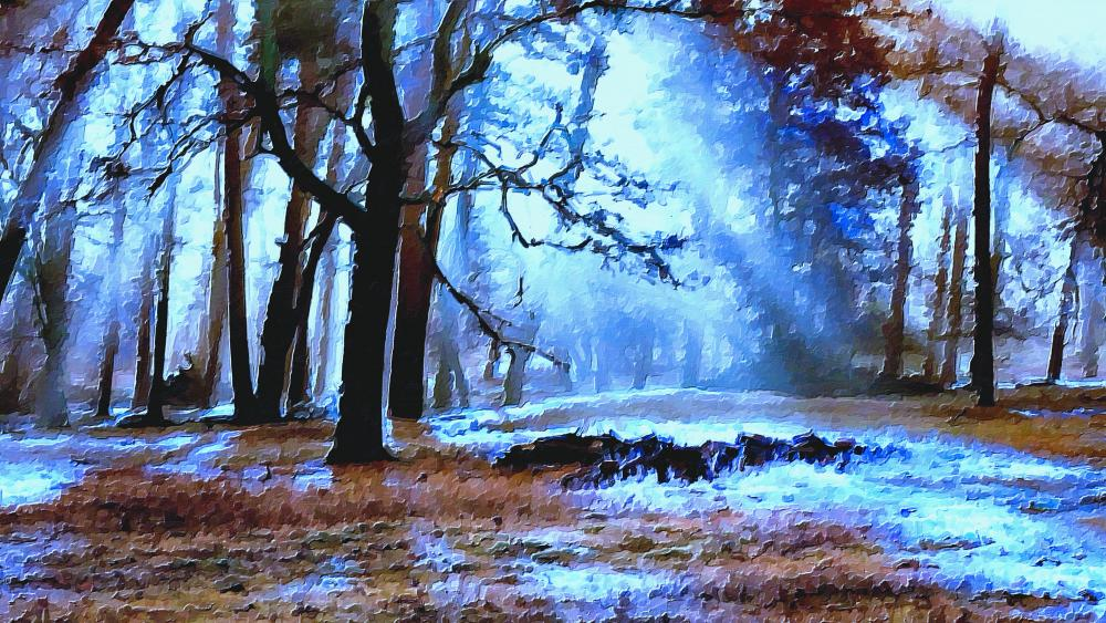 Sunlight in the forest painting art wallpaper