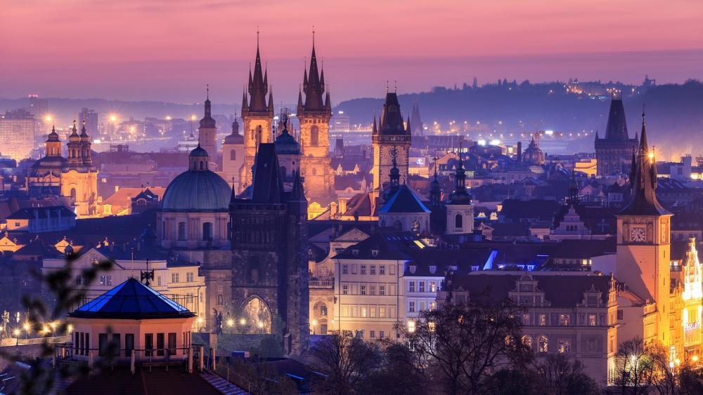 Prague at sunset wallpaper