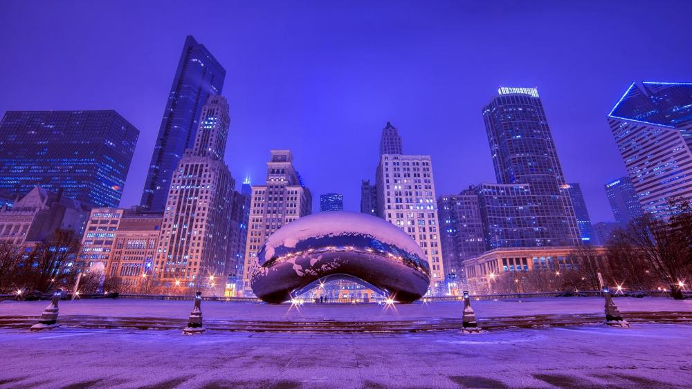 The Bean on a winter night (Millennium Park, Chicago) wallpaper