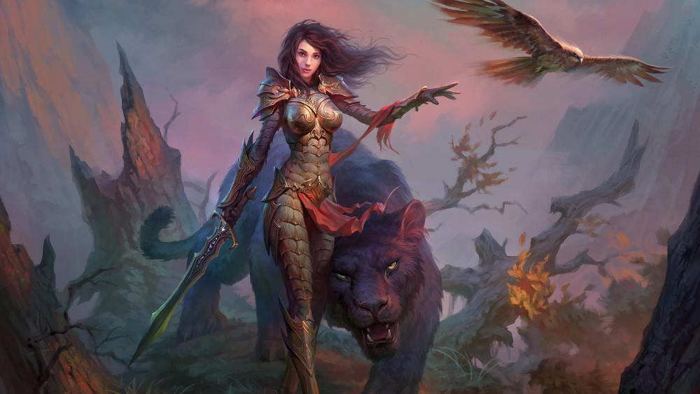 Woman warriror with a magical tiger wallpaper