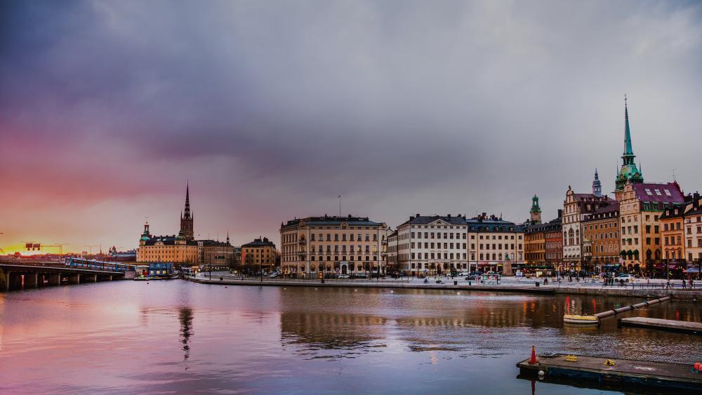 Cloudy Stockholm wallpaper