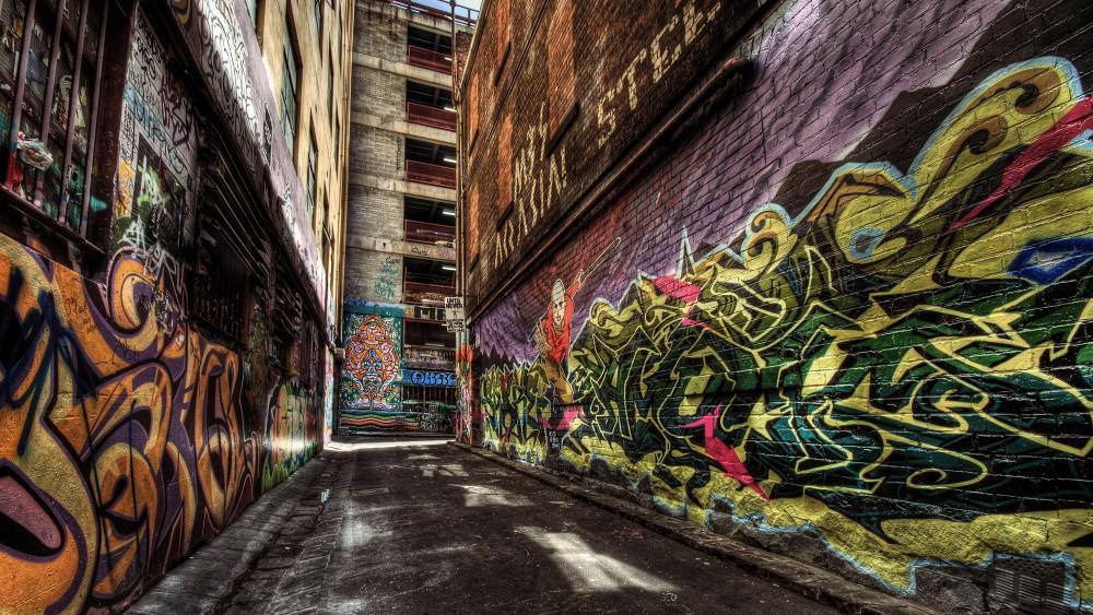 Alley way graffiti wallpaper