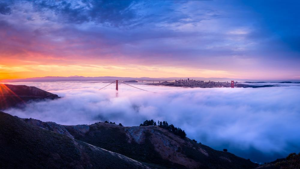 Golden Gate Bridge at sunrise wallpaper