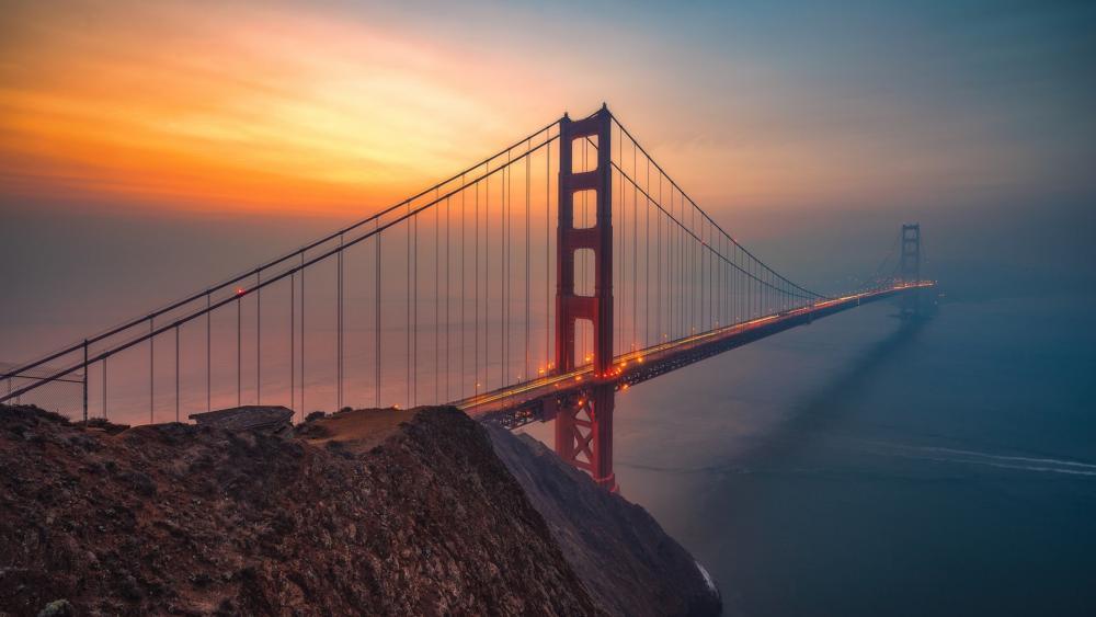 Golden Gate Bridge at sunset wallpaper