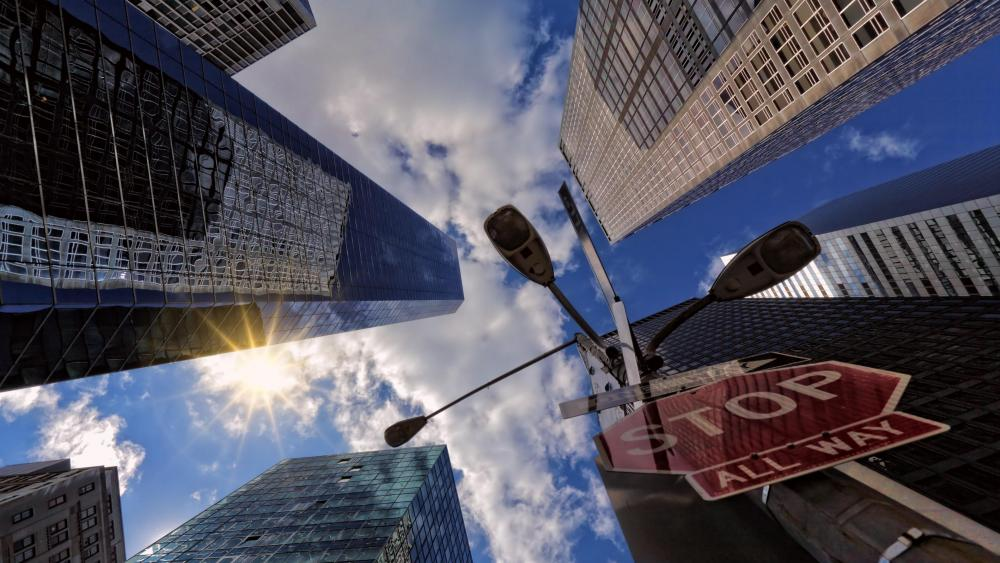Worm's-Eye View of New York City Skyscrapers wallpaper