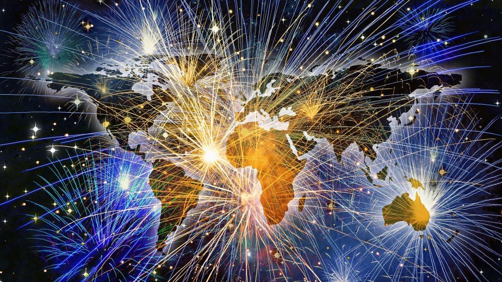 Fireworks all around the world wallpaper
