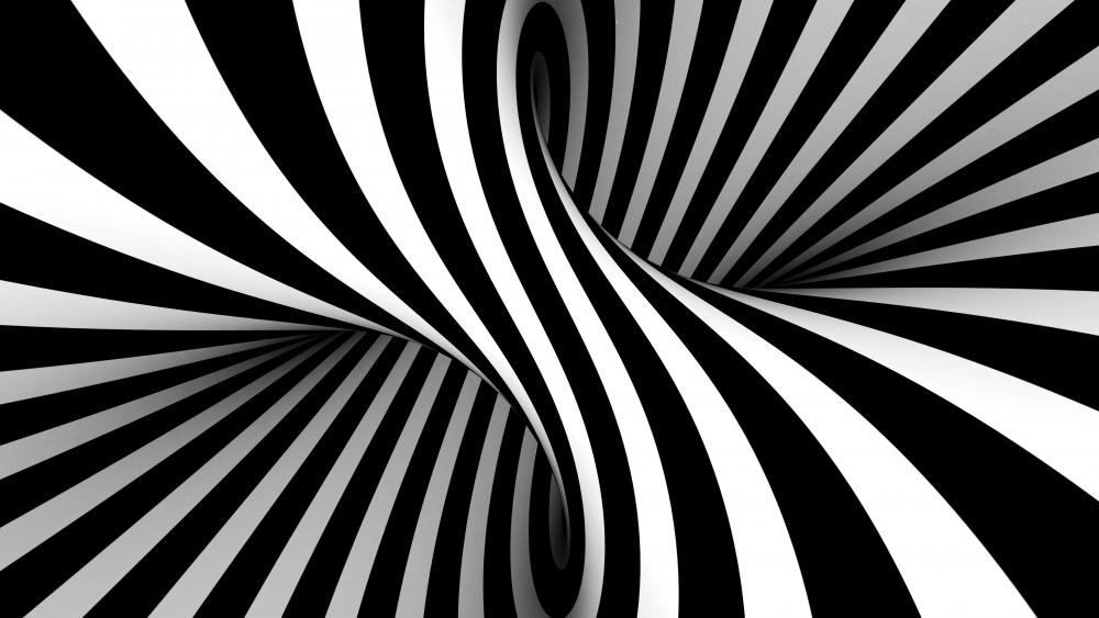 Vasarely style black and white optical illusion wallpaper