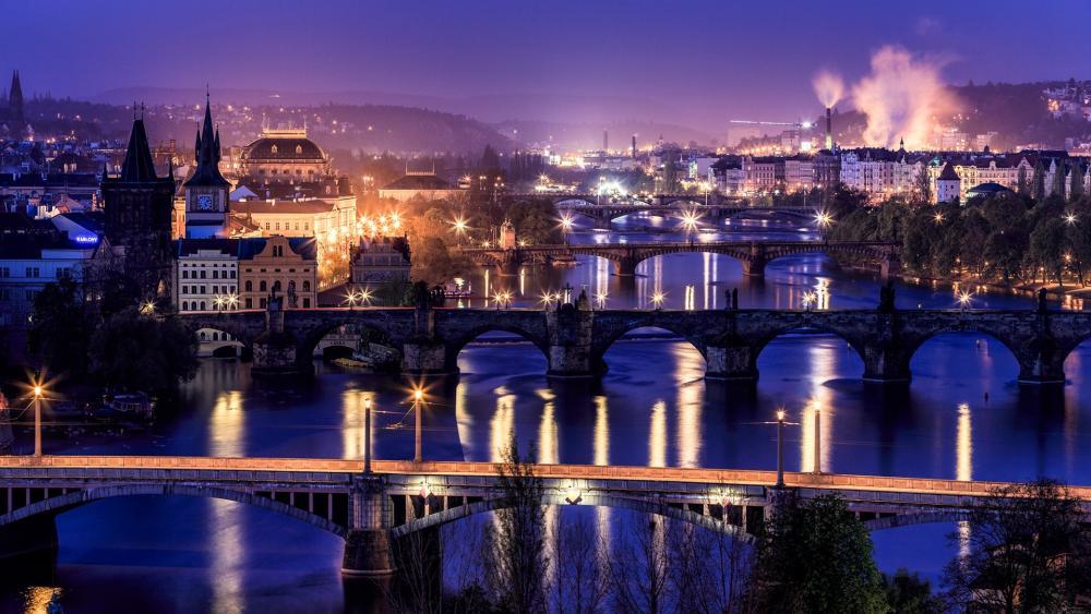 Prague's bridges at dusk wallpaper