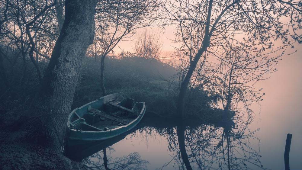 Lakeside on a misty dawn wallpaper