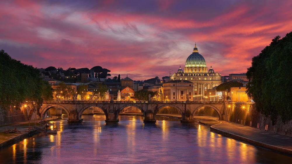 St. Angelo Bridge and St. Peter's Basilica wallpaper