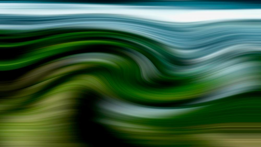 Green wavy abstraction wallpaper