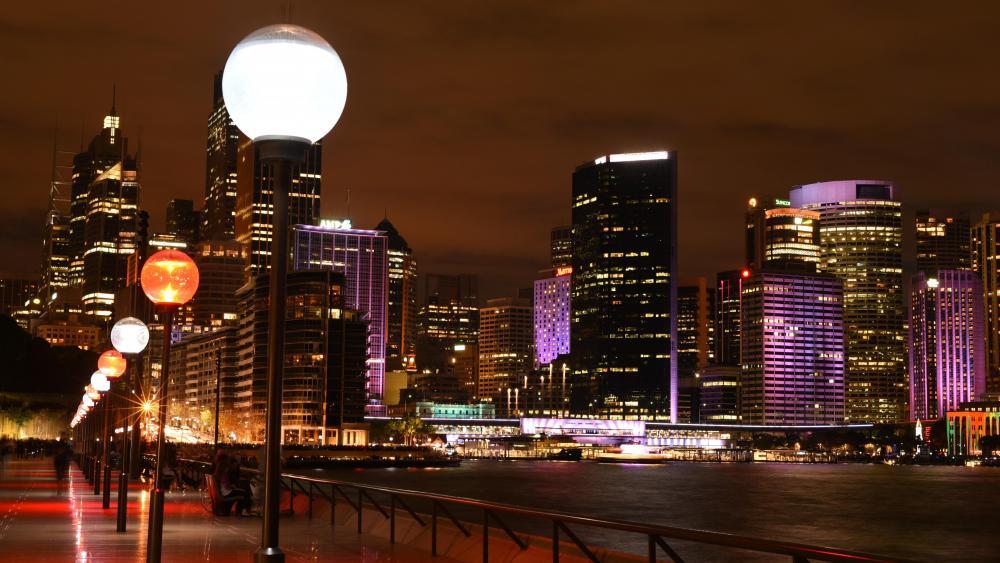 Sydney skyline at night wallpaper