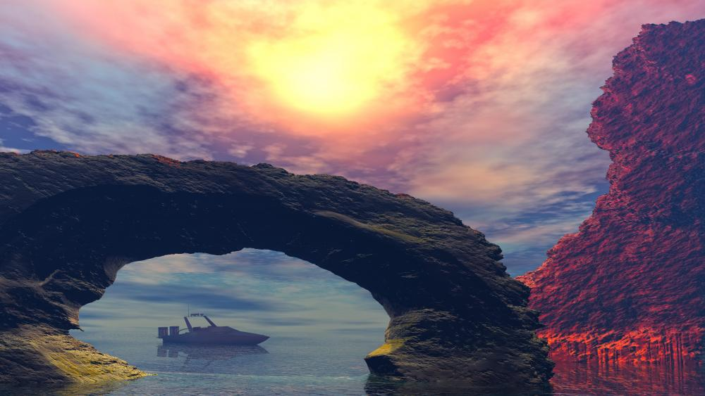 Motorboat in the rocky bay - Fantasy landscape wallpaper