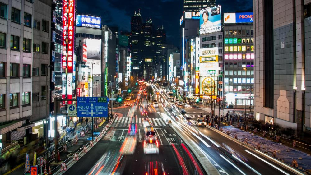 Time-lapse Photo of Downtown Tokyo wallpaper