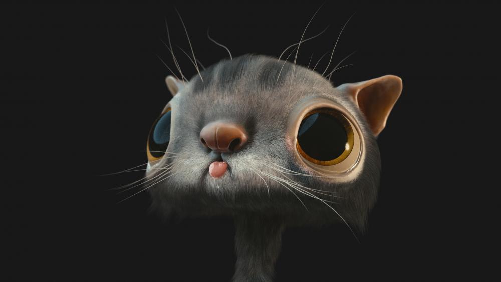 3D cartoon cat with big eyes wallpaper
