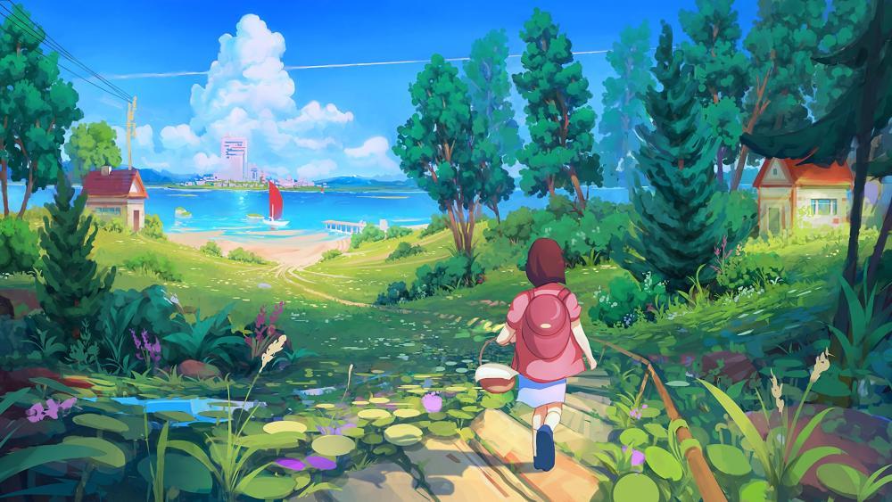 Child walks to the lakeshore wallpaper