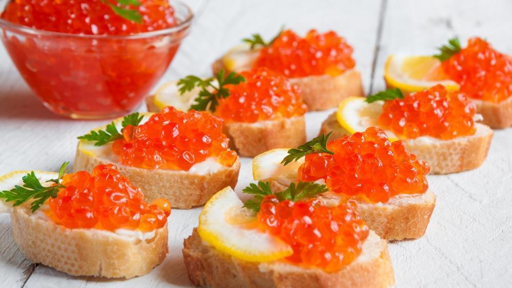 Red caviar sandwich wallpaper