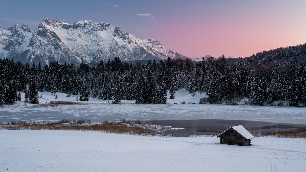 Hut at a frozen lake wallpaper