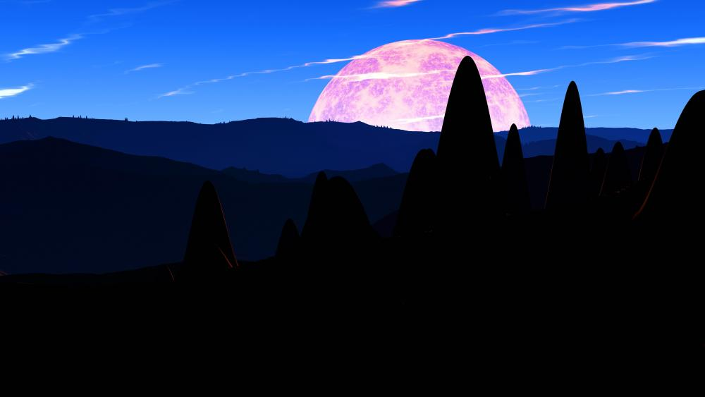 Full moon on the horizon wallpaper