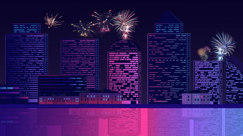 Retro neon city wallpaper