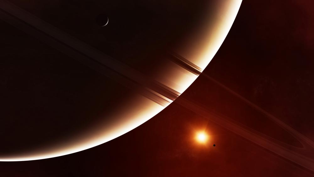 Saturn ring system wallpaper