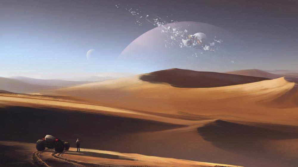 Desert on an alien planet wallpaper