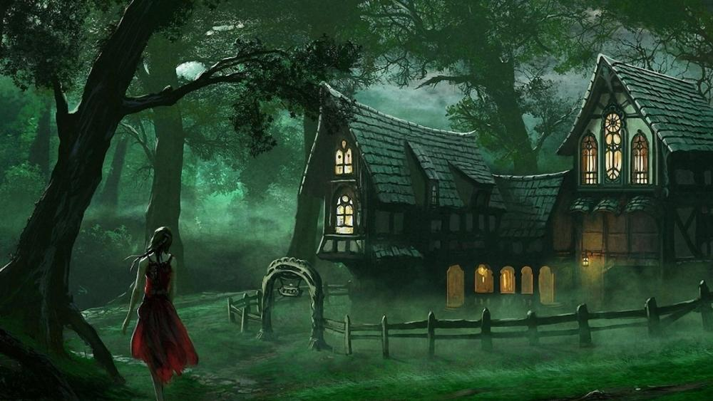 Cottage in the forest wallpaper