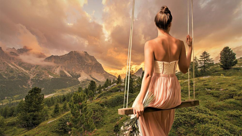 Woman swinging wallpaper
