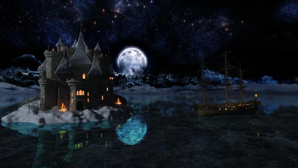 Fantasy castle in the full moon wallpaper