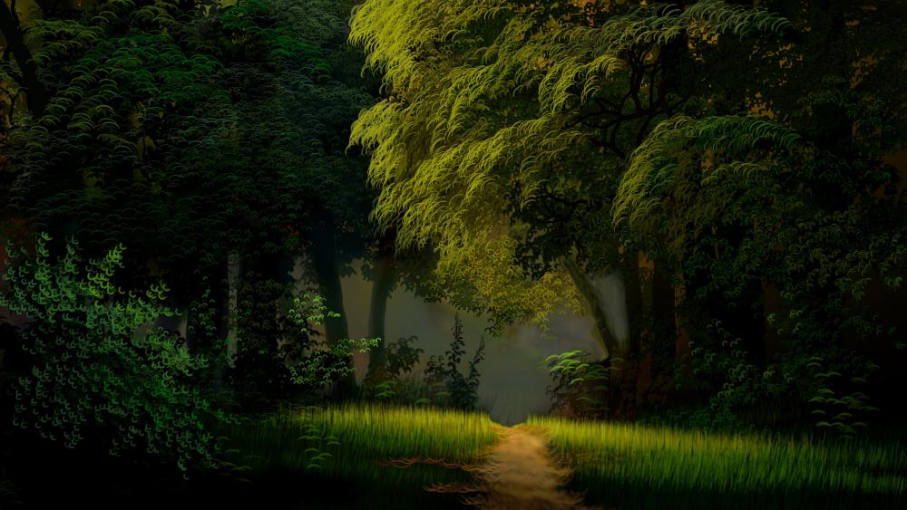 Forest path painting wallpaper