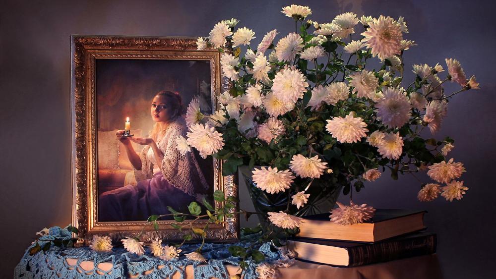 Still life chrysanthemums bouquet pictorial art wallpaper