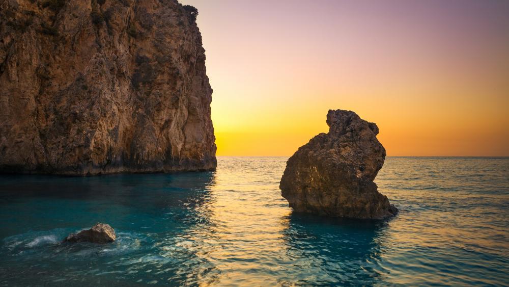 Sunset from the Milos Beach (Lefkada Island, Greece) wallpaper