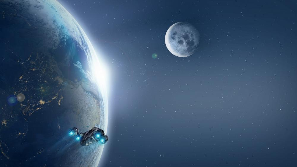 Space travel around the world wallpaper
