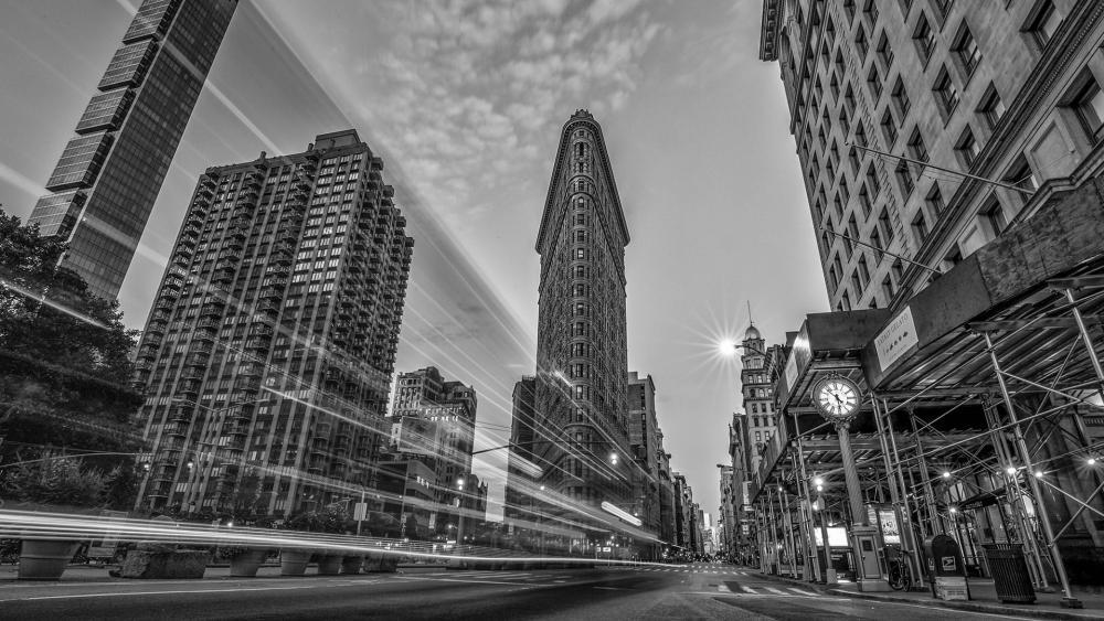Flatiron Building Long Exposure Monochrome Photo wallpaper