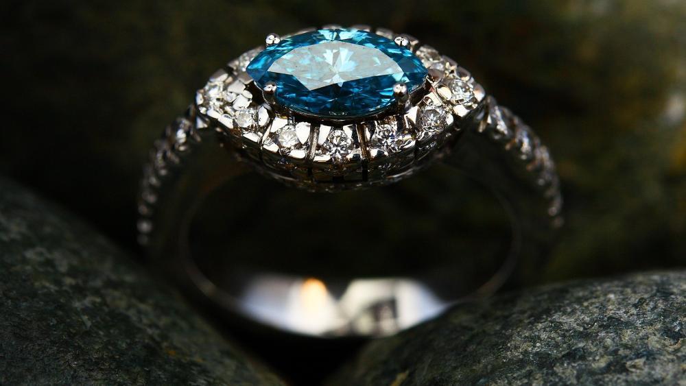 Blue diamond gem Ring wallpaper