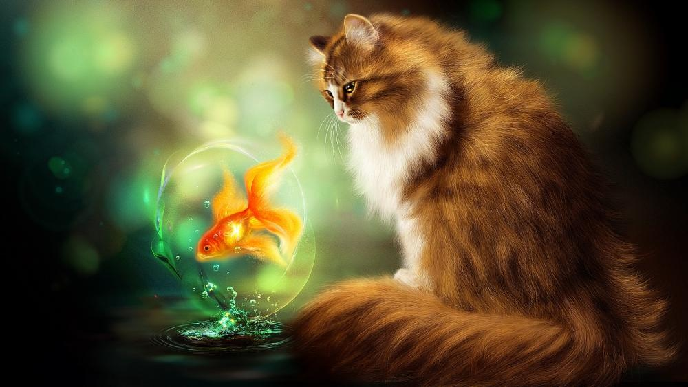 Cat with goldfish wallpaper