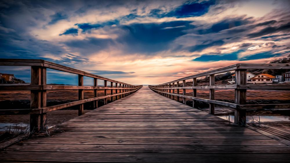 Pier under the cloudy sky wallpaper