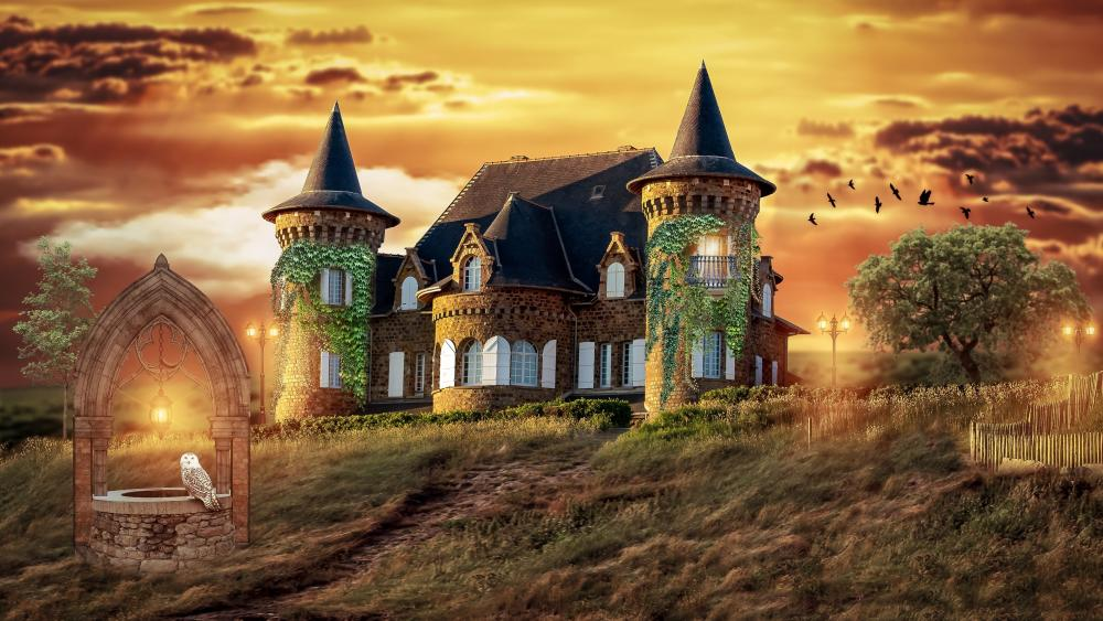 Fantasy castle with well wallpaper