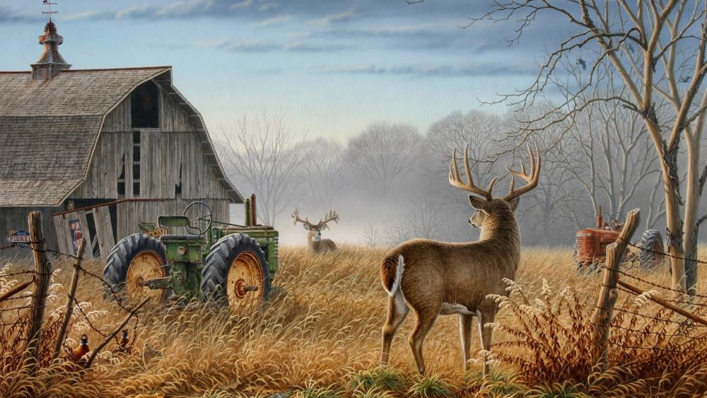 Deers on an abandoned farm painting art wallpaper