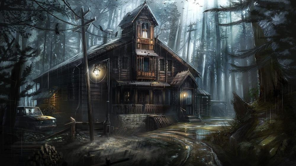 Haunted house in the forest wallpaper