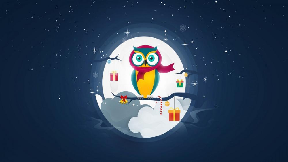 Christmas owl wallpaper