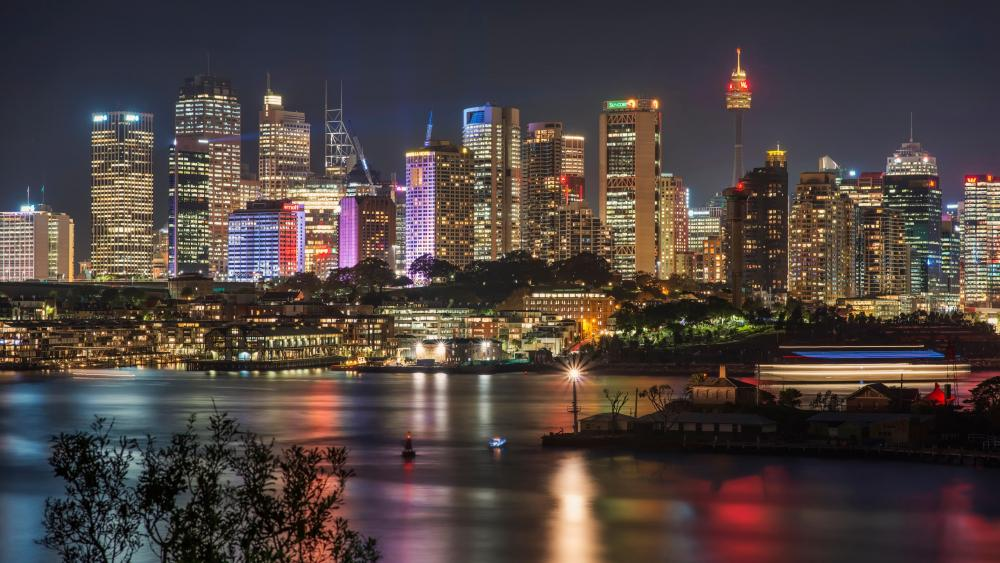 Sydney Skyline At Night wallpaper