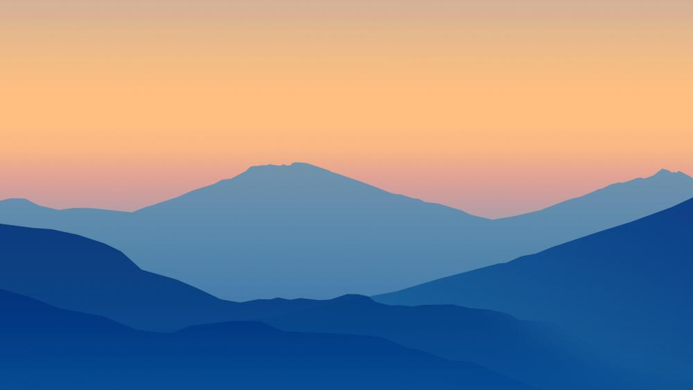 Blue mountains silhouettes wallpaper