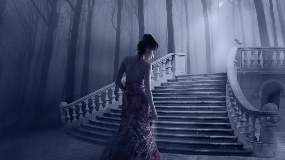 Fantasy woman in a mystical forest wallpaper