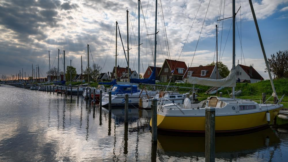 Sailboats in the marina (Durgerdam, Amsterdam) wallpaper