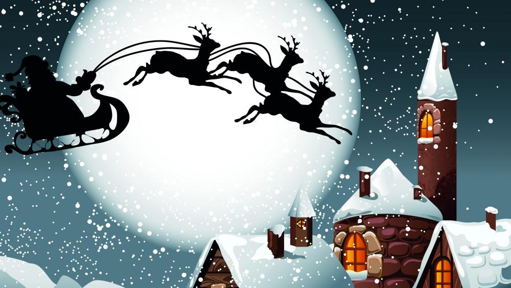 Santa's sleight silhouette in the full moon wallpaper