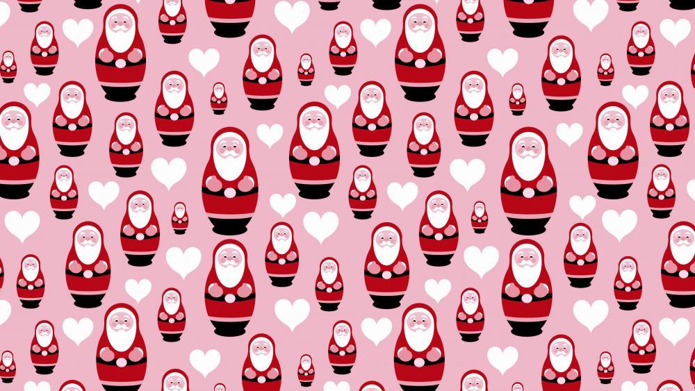 Pink and red Santa Claus pattern wallpaper