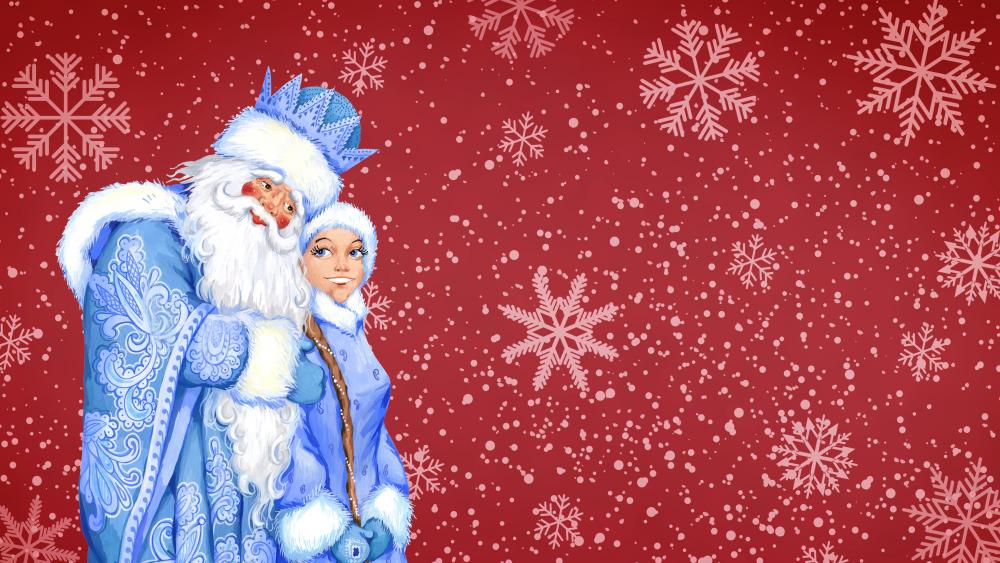Santa Claus on red snowflakes background wallpaper
