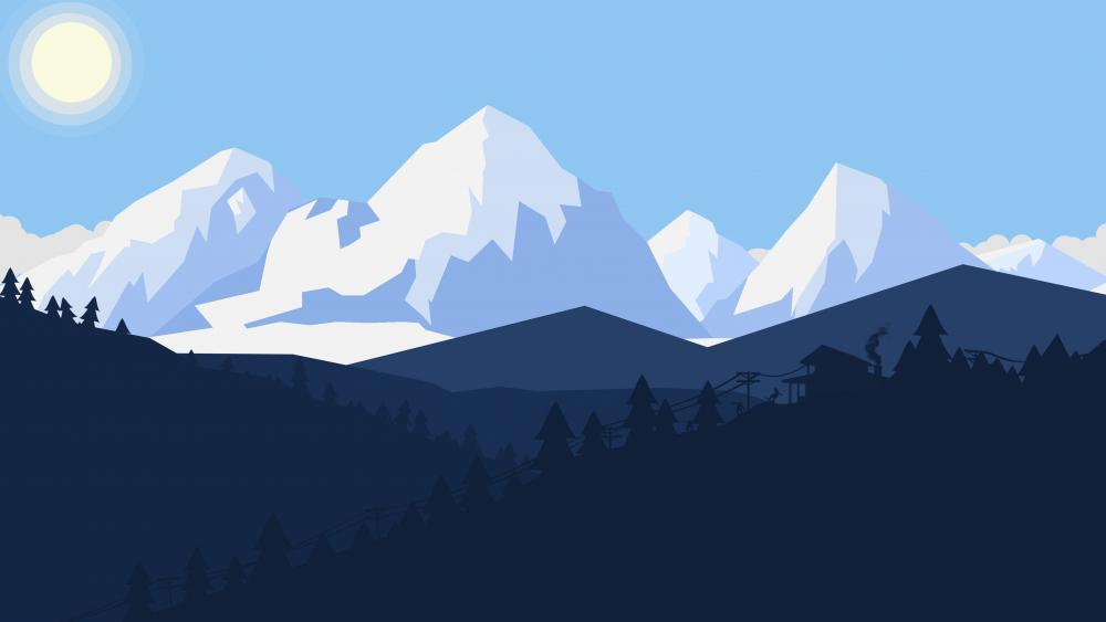Minimalistic winter landscape wallpaper